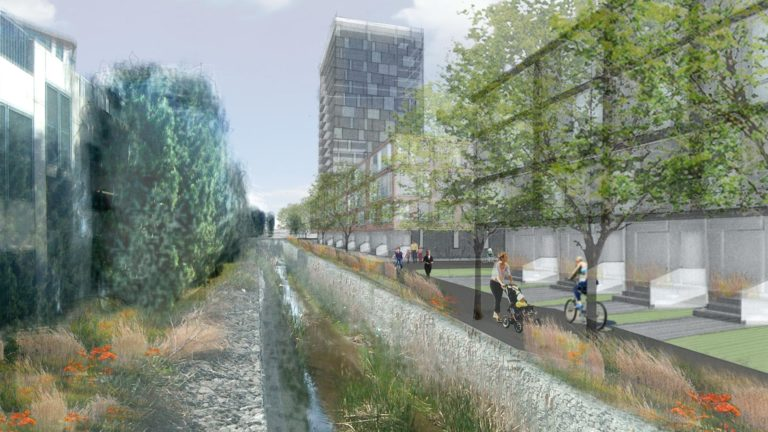 rendering with trees and a path lining a small waterway and people walking and riding bikes along the path. a high-rise building is in the background.